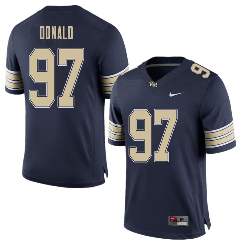 Men #97 Aaron Donald Pittsburgh Panthers College Football Jerseys Sale-Home Blue