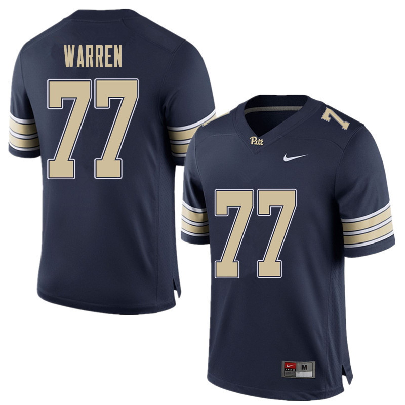 Men #77 Carter Warren Pittsburgh Panthers College Football Jerseys Sale-Home Blue
