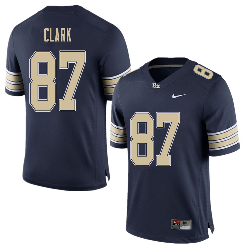 Men #87 Chris Clark Pittsburgh Panthers College Football Jerseys Sale-Home Blue