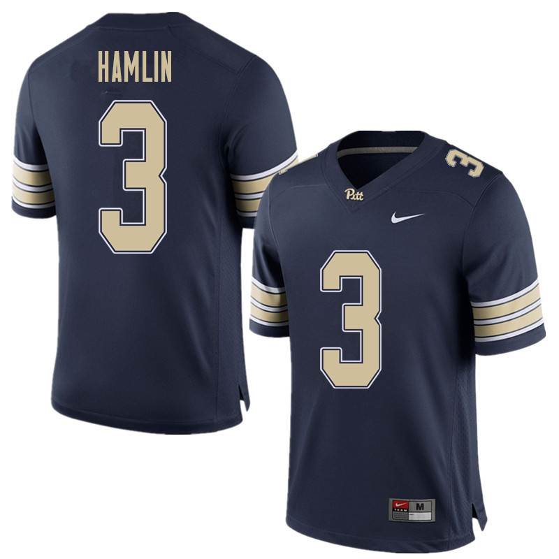 Men #3 Damar Hamlin Pittsburgh Panthers College Football Jerseys Sale-Home Blue