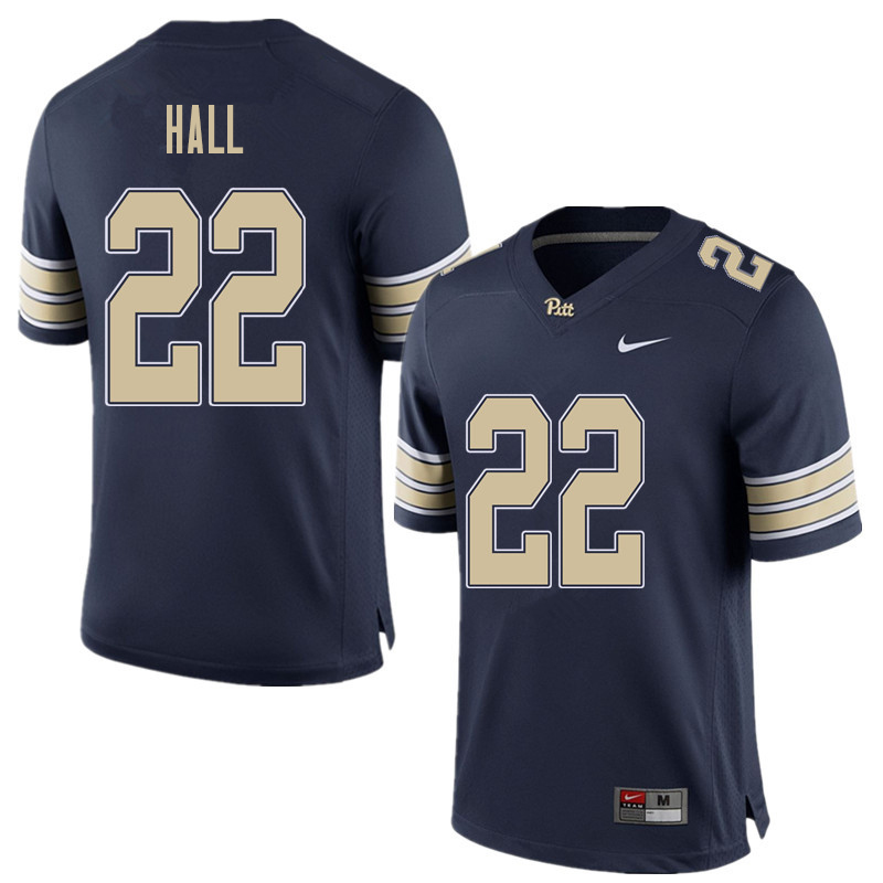 Men #22 Darrin Hall Pittsburgh Panthers College Football Jerseys Sale-Home Blue