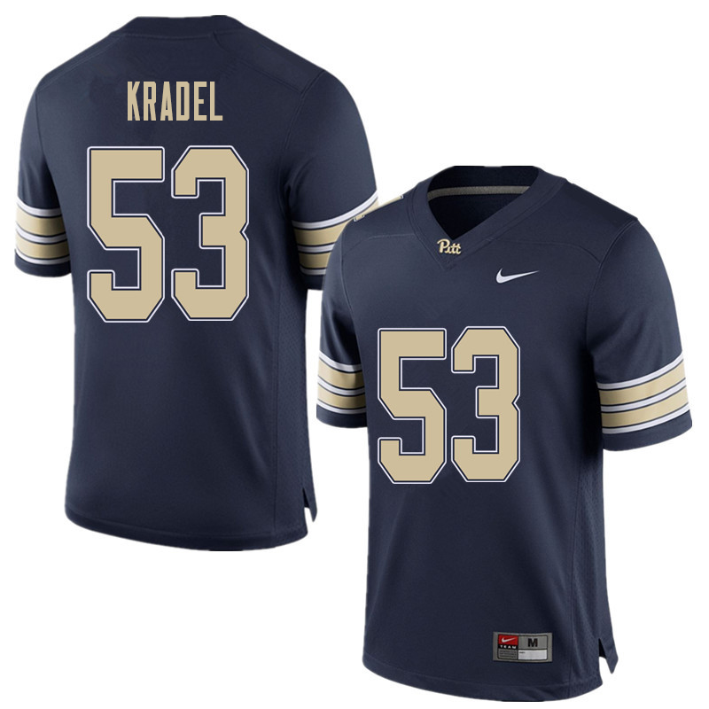 Men #53 Jake Kradel Pittsburgh Panthers College Football Jerseys Sale-Home Blue