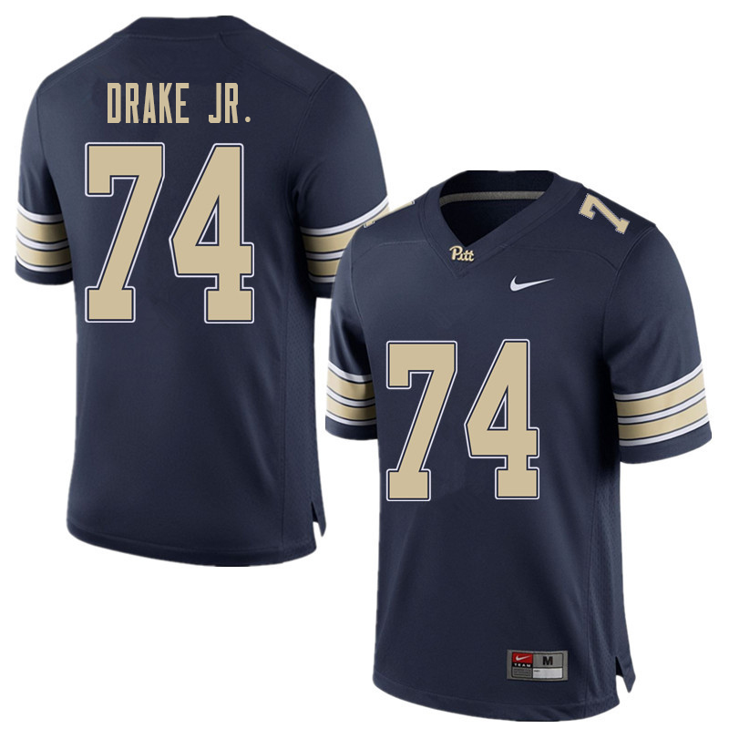 Men #74 Jerry Drake Jr. Pittsburgh Panthers College Football Jerseys Sale-Home Blue