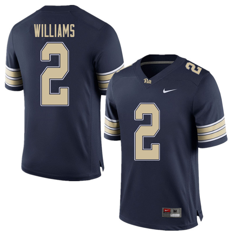 Men #2 KWaun Williams Pittsburgh Panthers College Football Jerseys Sale-Home Blue