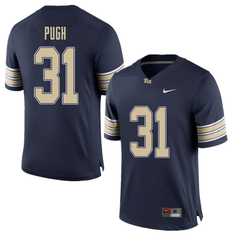 Men #31 Kaezon Pugh Pittsburgh Panthers College Football Jerseys Sale-Home Blue