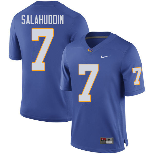 Men #7 Mychale Salahuddin Pittsburgh Panthers College Football Jerseys Sale-Royal