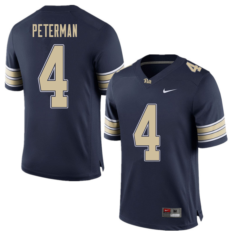 Men #4 Nathan Peterman Pittsburgh Panthers College Football Jerseys Sale-Home Blue