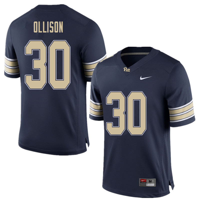 Men #30 Qadree Ollison Pittsburgh Panthers College Football Jerseys Sale-Home Blue