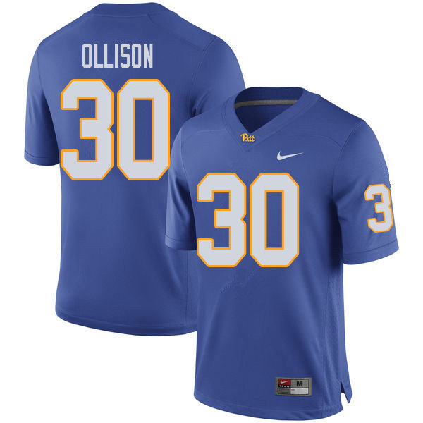 Men #30 Qadree Ollison Pittsburgh Panthers College Football Jerseys Sale-Royal