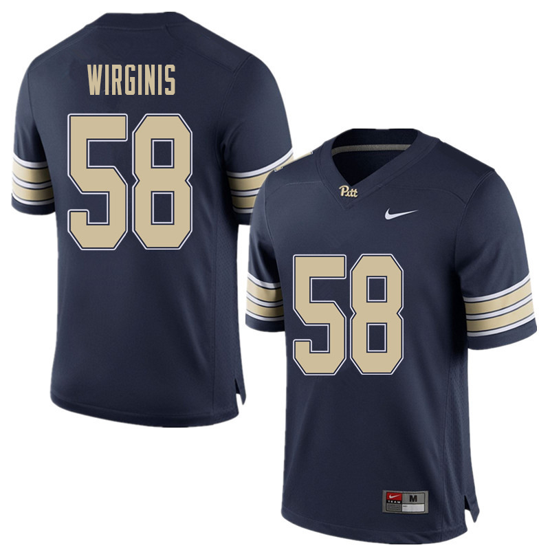 Men #58 Quintin Wirginis Pittsburgh Panthers College Football Jerseys Sale-Home Blue