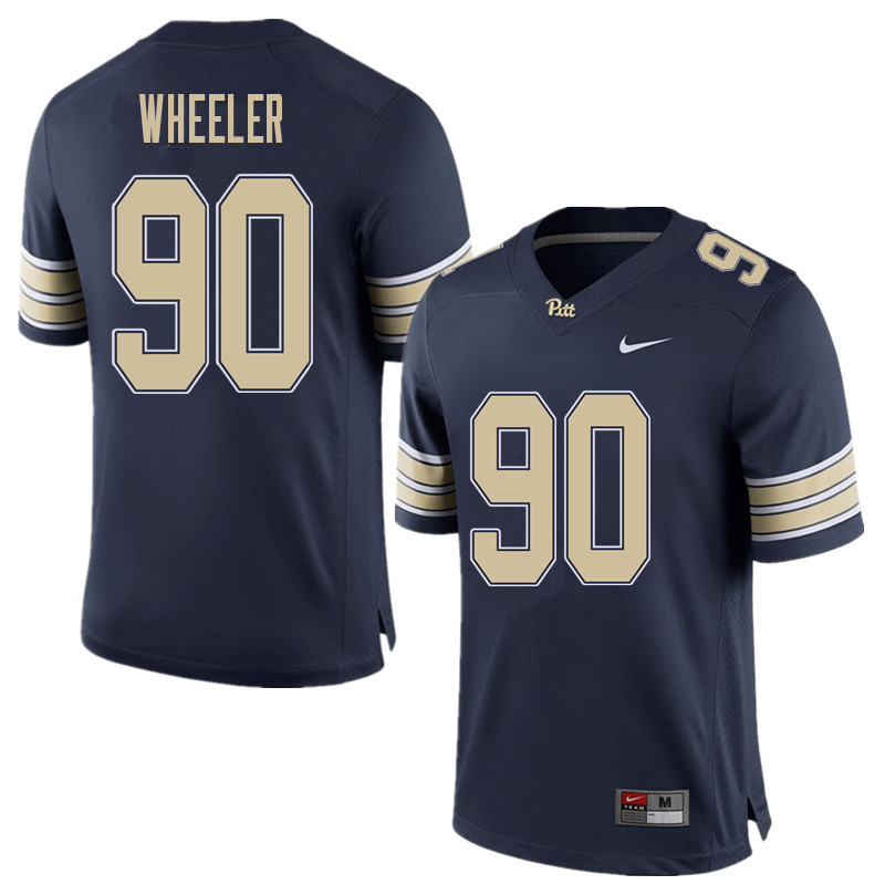Men #90 Rashad Wheeler Pittsburgh Panthers College Football Jerseys Sale-Home Blue