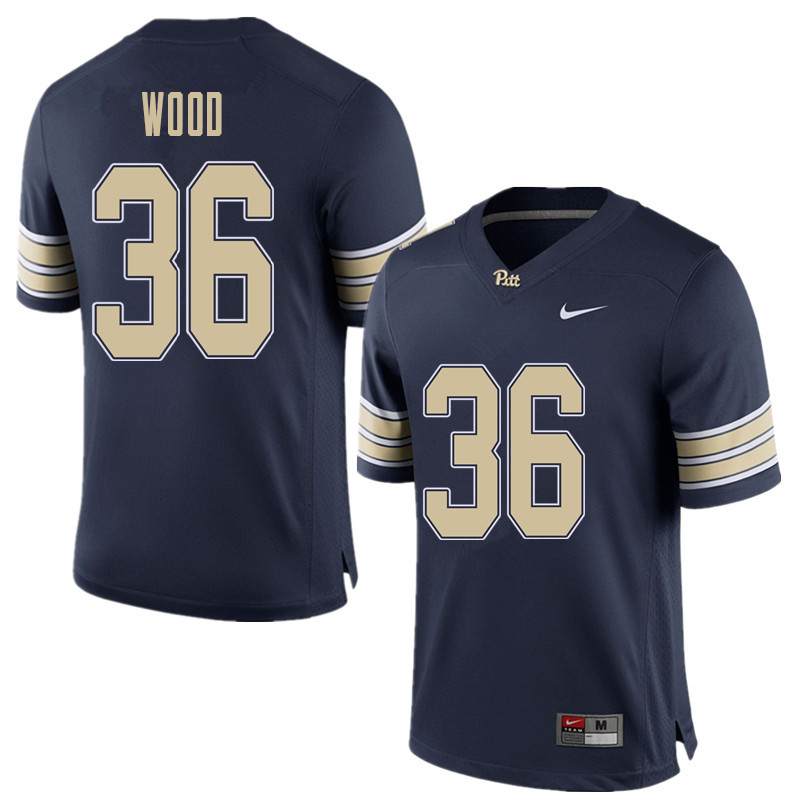 Men #36 Shawn Wood Pittsburgh Panthers College Football Jerseys Sale-Home Blue