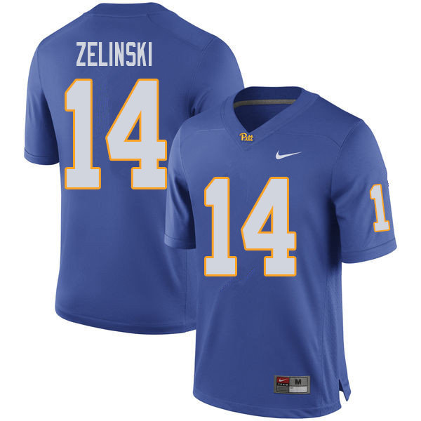 Men #14 Tyler Zelinski Pittsburgh Panthers College Football Jerseys Sale-Royal