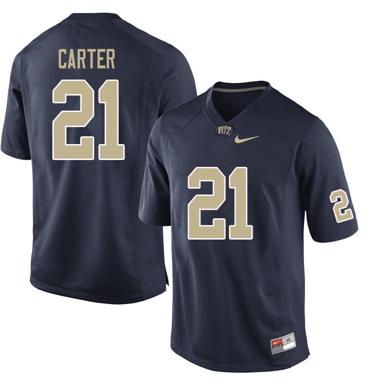 Men #21 V'Lique Carter Pittsburgh Panthers College Football Jerseys Sale-Navy