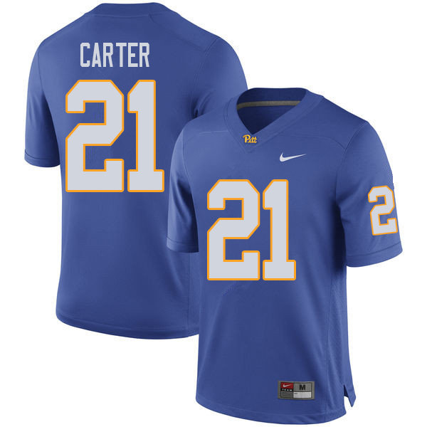 Men #21 V'Lique Carter Pittsburgh Panthers College Football Jerseys Sale-Royal