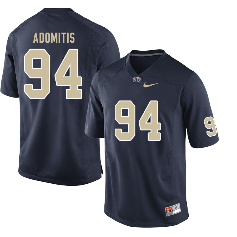 Men #94 Cal Adomitis Pitt Panthers College Football Jerseys Sale-Navy