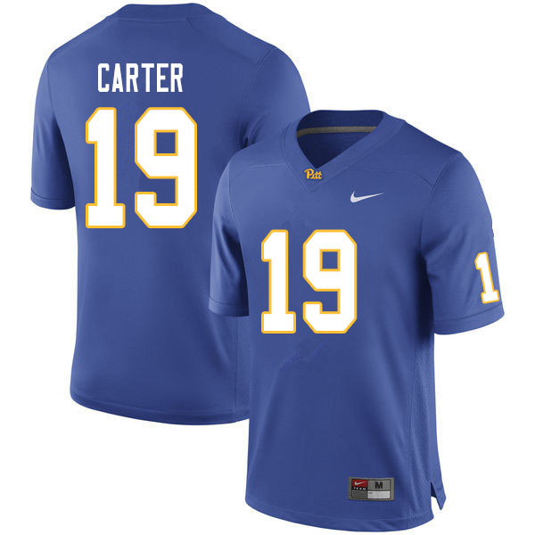 Men #19 V'Lique Carter Pitt Panthers College Football Jerseys Sale-Royal
