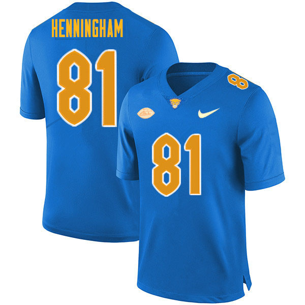 Men #81 Aydin Henningham Pitt Panthers College Football Jerseys Sale-Royal
