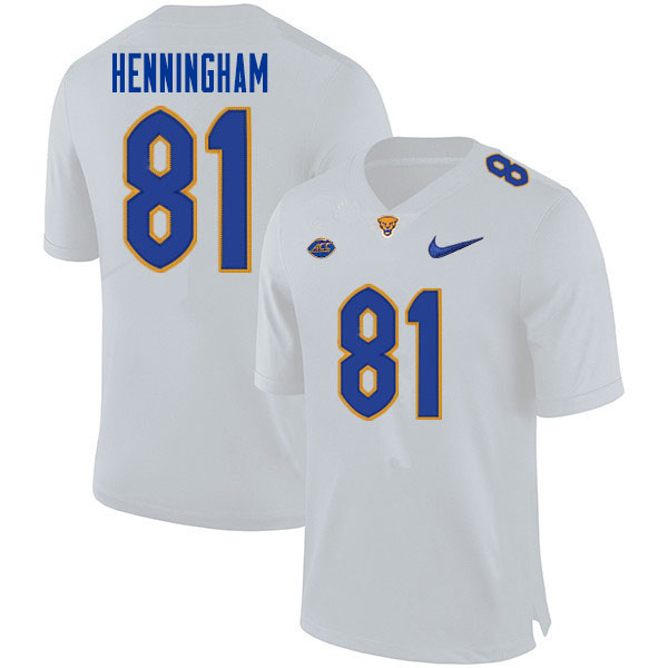 Men #81 Aydin Henningham Pitt Panthers College Football Jerseys Sale-White