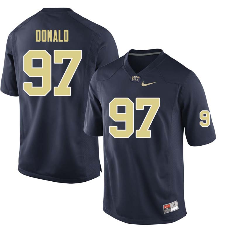 Men #97 Aaron Donald Pittsburgh Panthers College Football Jerseys Sale-Navy