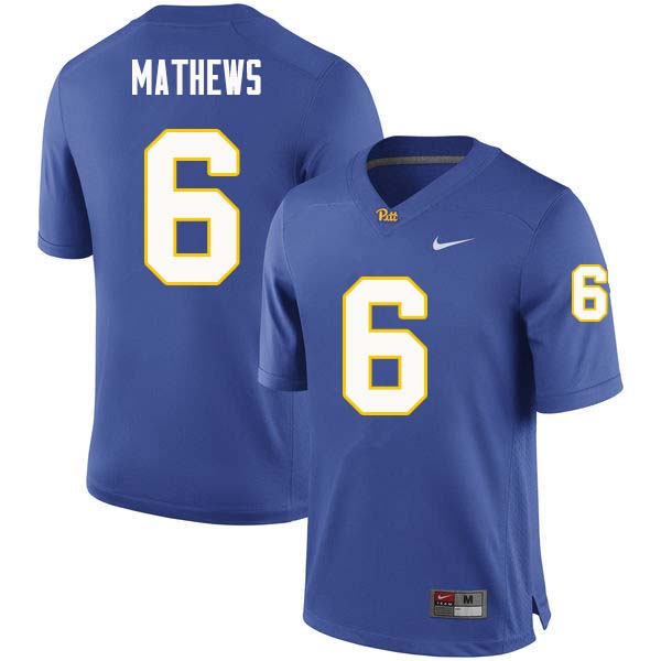 Men #6 Aaron Mathews Pittsburgh Panthers College Football Jerseys Sale-Royal