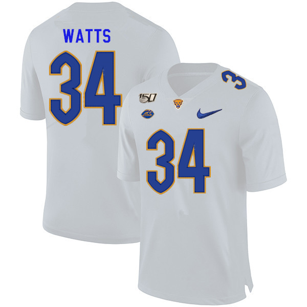 2019 Men #34 Amir Watts Pitt Panthers College Football Jerseys Sale-White