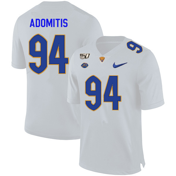 2019 Men #94 Cal Adomitis Pitt Panthers College Football Jerseys Sale-White