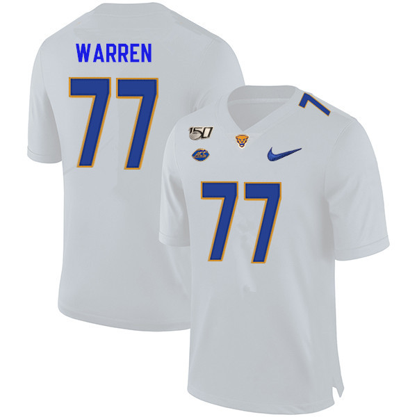 2019 Men #77 Carter Warren Pitt Panthers College Football Jerseys Sale-White