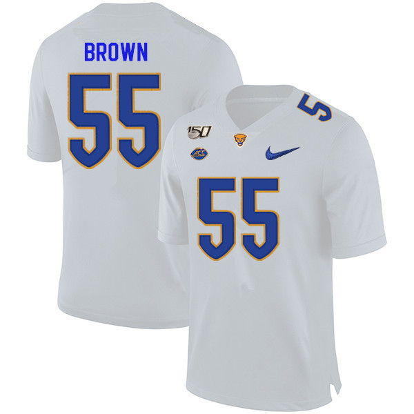 2019 Men #55 Chase Brown Pitt Panthers College Football Jerseys Sale-White