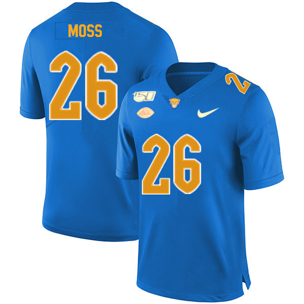 2019 Men #26 Chawntez Moss Pitt Panthers College Football Jerseys Sale-Royal