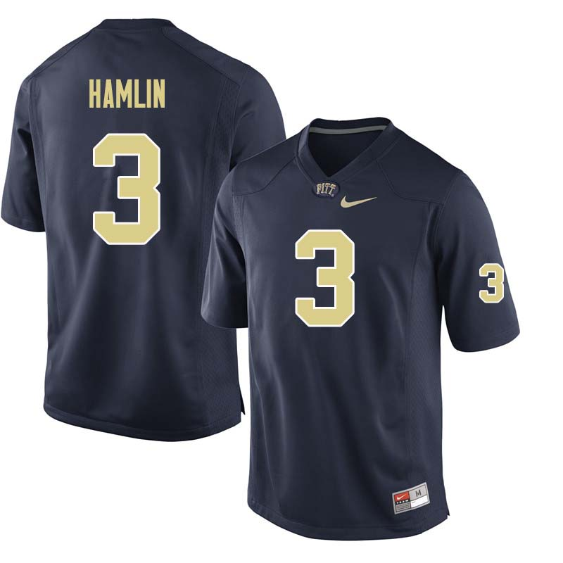 Men #3 Damar Hamlin Pittsburgh Panthers College Football Jerseys Sale-Navy