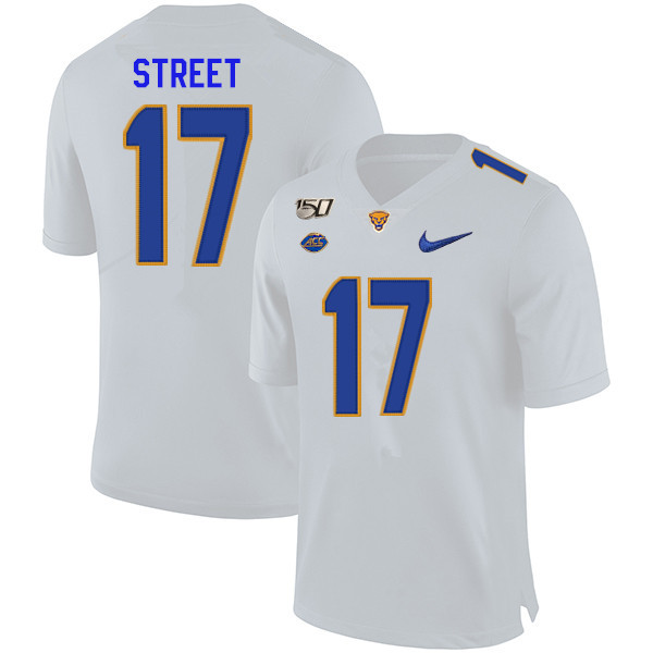 2019 Men #17 Darian Street Pitt Panthers College Football Jerseys Sale-White