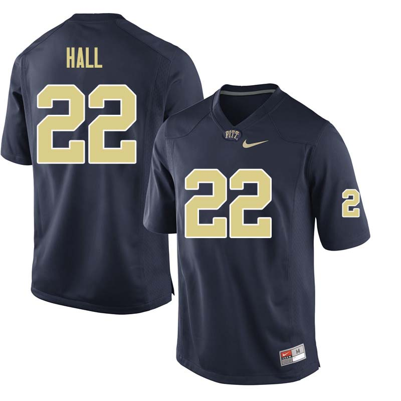 Men #22 Darrin Hall Pittsburgh Panthers College Football Jerseys Sale-Navy