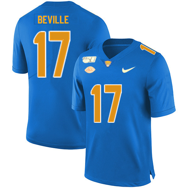 2019 Men #17 Davis Beville Pitt Panthers College Football Jerseys Sale-Royal