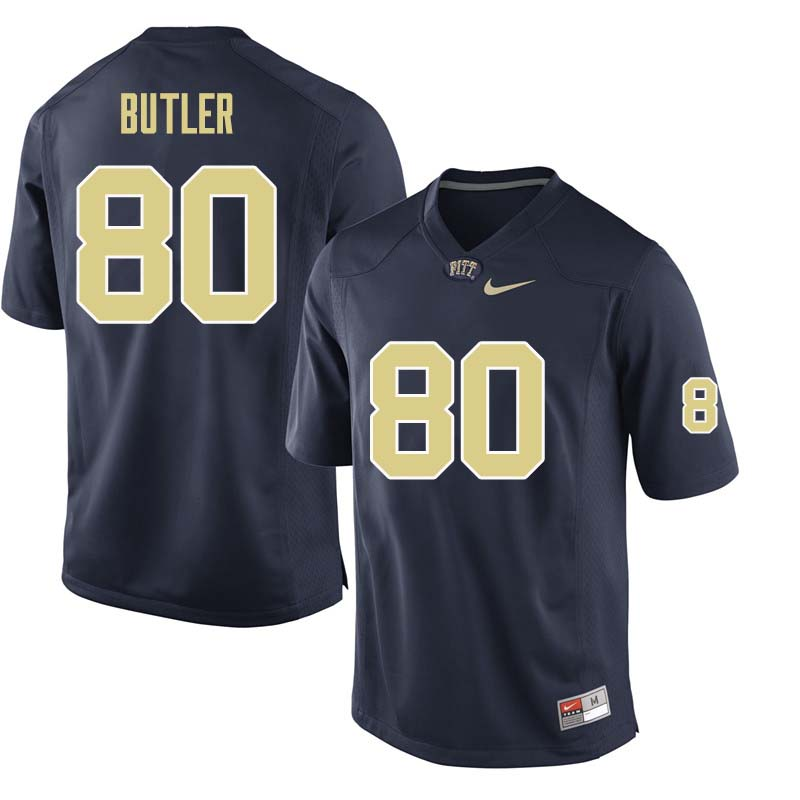 Men #80 Dontavius Butler Pittsburgh Panthers College Football Jerseys Sale-Navy