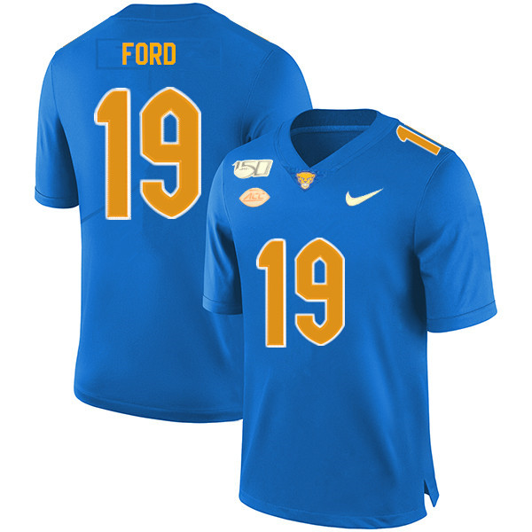 2019 Men #19 Dontez Ford Pitt Panthers College Football Jerseys Sale-Royal