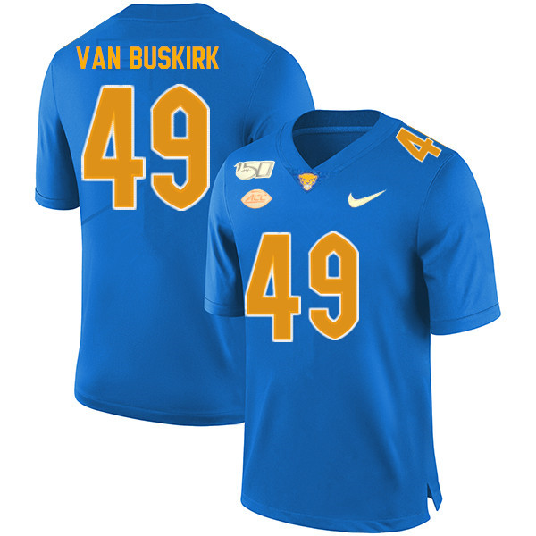 2019 Men #49 Ethan Van Buskirk Pitt Panthers College Football Jerseys Sale-Royal