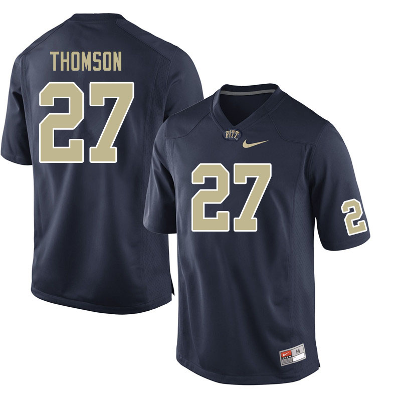 Men #27 Gavin Thomson Pitt Panthers College Football Jerseys Sale-Navy