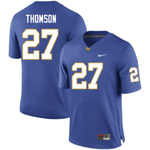 Men #27 Gavin Thomson Pitt Panthers College Football Jerseys Sale-Royal