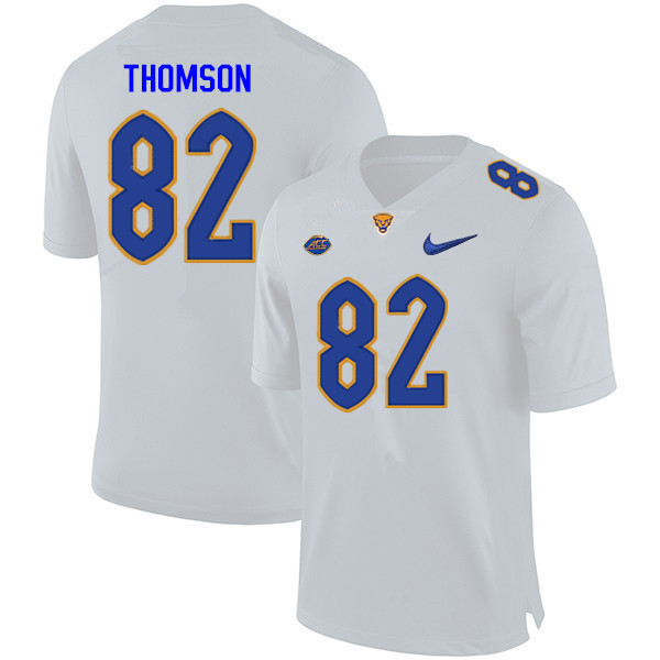 Men #82 Gavin Thomson Pitt Panthers College Football Jerseys Sale-White