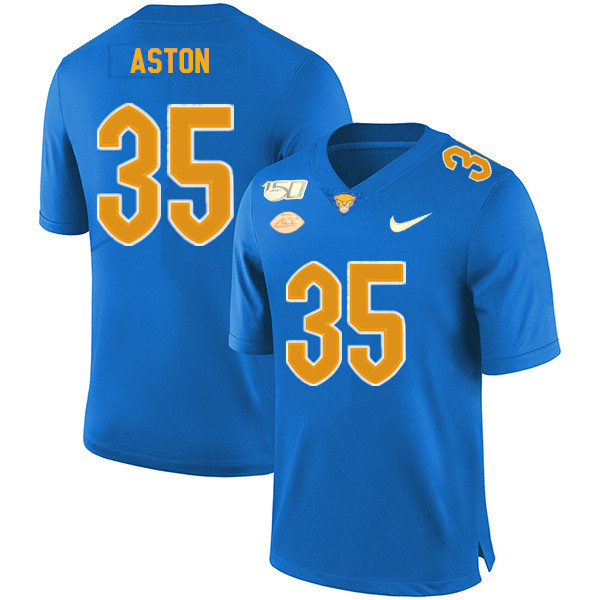 2019 Men #35 George Aston Pitt Panthers College Football Jerseys Sale-Royal