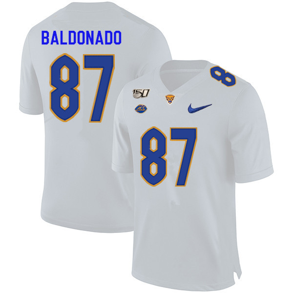 2019 Men #87 Habakkuk Baldonado Pitt Panthers College Football Jerseys Sale-White