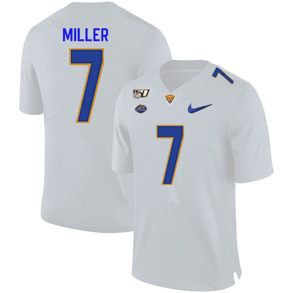 2019 Men #7 Henry Miller Pitt Panthers College Football Jerseys Sale-White