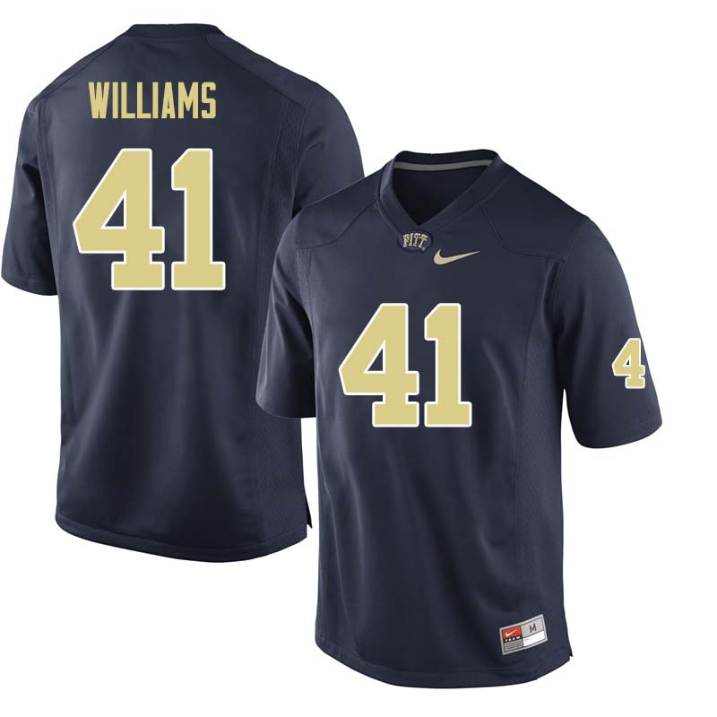 Men #41 Jalen Williams Pittsburgh Panthers College Football Jerseys Sale-Navy