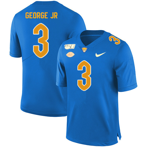 2019 Men #3 Jeff George Jr. Pitt Panthers College Football Jerseys Sale-Royal