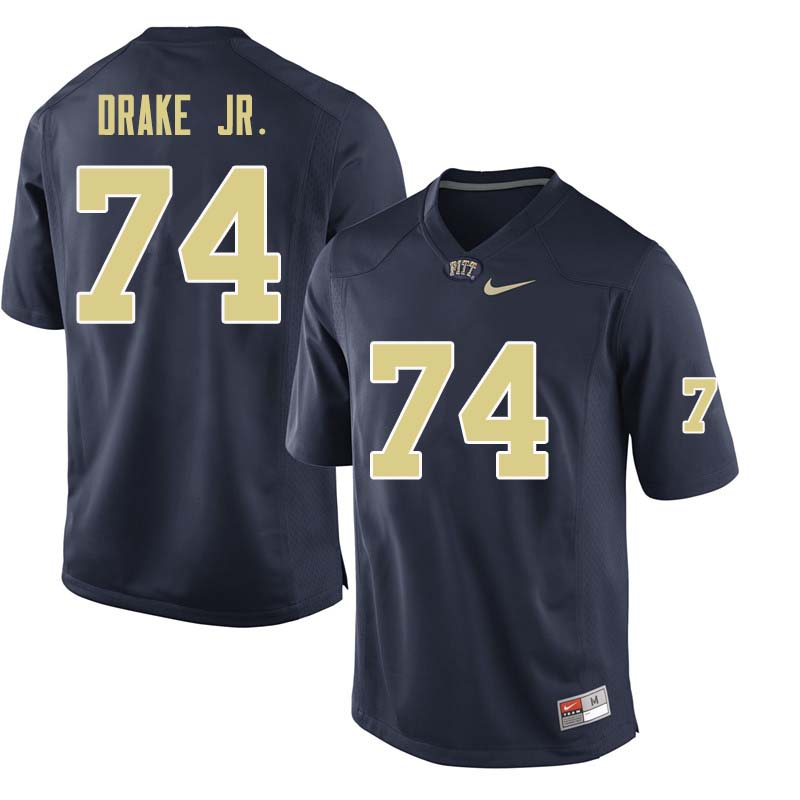 Men #74 Jerry Drake Jr. Pittsburgh Panthers College Football Jerseys Sale-Navy
