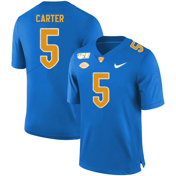 2019 Men #5 Kamonte Carter Pitt Panthers College Football Jerseys Sale-Royal