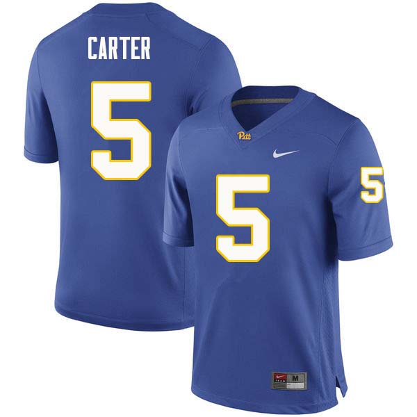 Men #5 Kamonte Carter Pittsburgh Panthers College Football Jerseys Sale-Royal