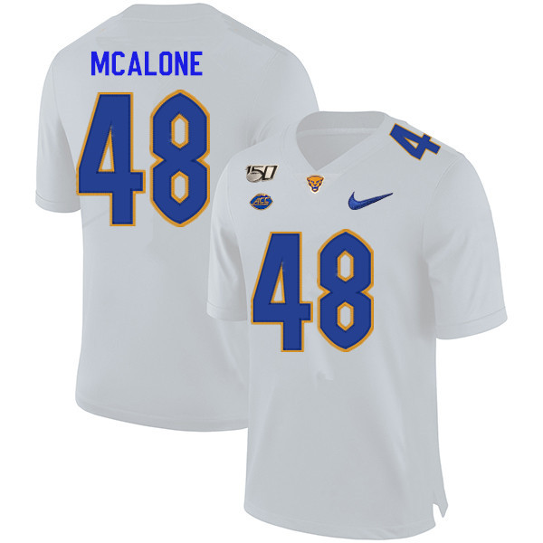 2019 Men #48 Kellen McAlone Pitt Panthers College Football Jerseys Sale-White
