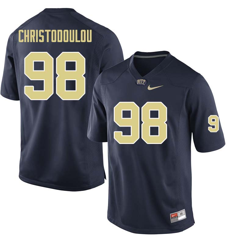 Men #98 Kirk Christodoulou Pittsburgh Panthers College Football Jerseys Sale-Navy